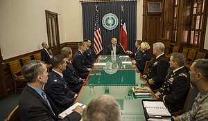 Governor Greg Abbott meeting with commanders of U.S. military installations in Texas