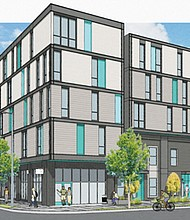A preliminary drawing envisions the proposed affordable housing condominium project planned for North Interstate Avenue by the nonprofit Proud Ground.