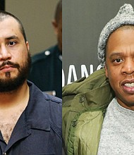 George Zimmerman (left), the man acquitted of Trayvon Martin's murder and rapper Jay-Z (right).