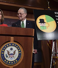 House Minority Leader Nancy Pelosi of Calif., left, standing with Senate Minority Leader Sen. Chuck Schumer of N.Y., right, speaks at a news conference on Capitol Hill in Washington, Wednesday, Dec. 20, 2017, on the passage of legislation that overhauls U.S. tax law. The massive $1.5 trillion tax package affects everyone's taxes but is dominated by breaks for business and higher earners. Democrats call the legislation a boon to the rich that leaves middle-class and working Americans behind. (AP Photo/Susan Walsh)