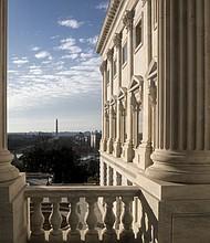 A balcony on the Senate side of the Capitol in Washington, looks west toward the Washington Monument, Monday, Dec. 11, 2017. (AP Photo/J. Scott Applewhite)