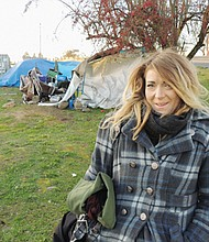 Brienna Fultz has been struggling with homelessness for about three years and in previous years relied on staying with friends or sleeping in her car to avoid the cold. This is her first winter in a tent.