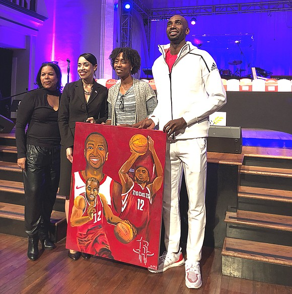 Houston Rockets Power Forward Luc Mbah A Moute, and his M12 Foundation teamed up with Houston Councilwoman Amanda Edwards and ...