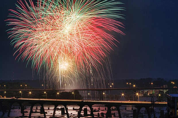 Sandra Sellars/Richmond Free Press Fireworks over the James River in 2015.
