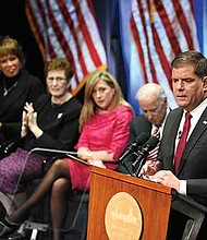 Mayor Martin Walsh delivers his inaugural address Jan. 1 at Emerson College's Cutler Majestic Theater. Former Vice President Joe Biden presided over the ceremonies.
