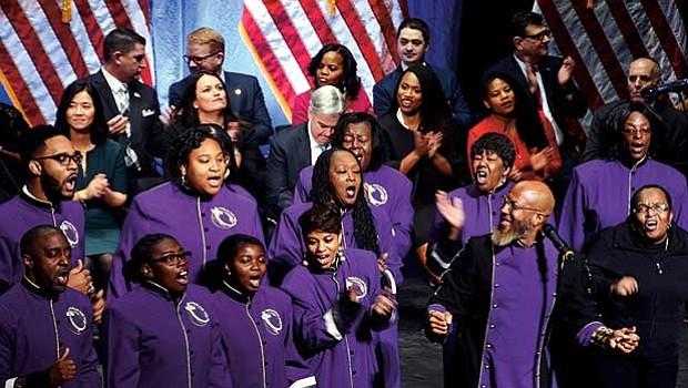 The Morning Star Baptist Church Sanctuary Choir performs.