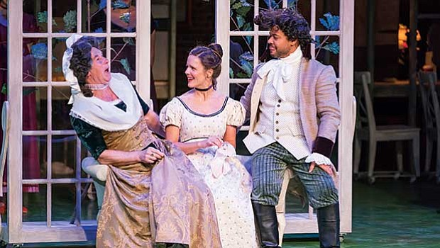"Nigel Gore, Maggie Adams McDowell and Ryan Quinn in ""Bedlam's Sense & Sensibility."""