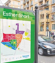 A large kiosk at Esther Short Park in downtown Vancouver marks the first batch of new transportation signs being installed with the New Year to improve navigation for pedestrians and others.