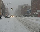 Snow on Frederick Douglass Boulevard in Harlem.