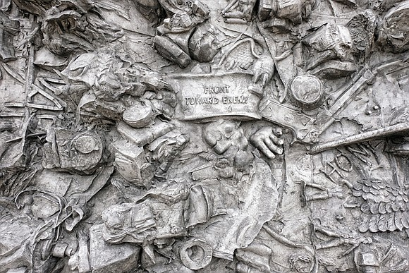 "This unique sculptural tribute to military veterans stands at the Virginia War Memorial near the Lee Bridge. Dubbed the ""Veterans' ..."