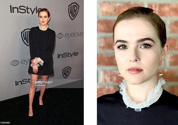 """As Zoey was dressed in a dark color, we went for a feminine lip to soften up her look and ..."