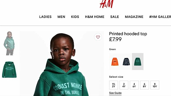 "H&M was forced to apologize Monday for using a Black child to model a sweatshirt with a ""coolest monkey in ..."