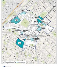 The Plan: Dudley Square map showing vacant and under-development parcels.