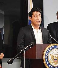 Eduardo Samaniego, DACA advocate, speaks at press conference with Ed Markey.