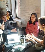 Race in Boston meetup participants in conversation in Jamaica Plain.