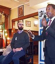 Former Newton Mayor Setti Warren addresses a gathering of JP Progressives.