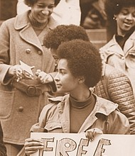A photo from city of Portland archives and from an Oregon Black Pioneers exhibit opening at the Oregon Historical Society shows Sandra Ford of the Portland Black Panthers during a Feb. 14, 1970 demonstration at the U.S. Courthouse in support of repressed peoples.