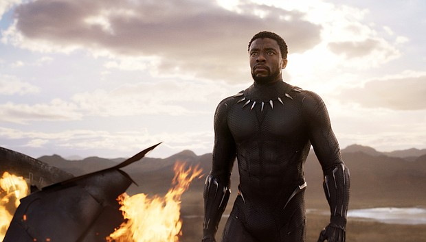 "Chadwick Boseman in a scene from ""Black Panther."" (Marvel Studios/Disney via AP)"