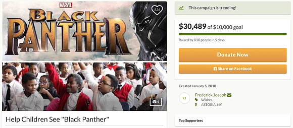 New York resident Frederick Joseph launched a GoFundMe to take Harlem children to see Black Panther in theaters next month. ...