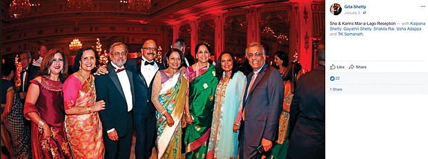 In a Facebook post, RRHA CEO T.K. Somanath, right, smiles as he poses with relatives at a Jan. 3 reception at Mar-a-Lago in Palm Beach, Fla., as he and his wife vacationed in the Sunshine State.