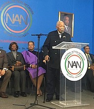 Former New York City Mayor David Dinkins speaks at the National Action Network