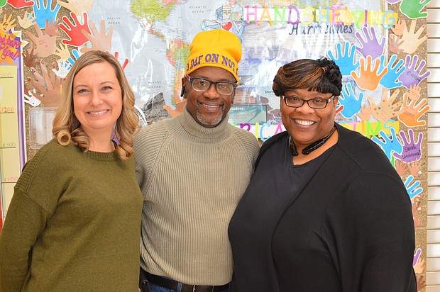 Organizers of the MLK Day of Service event, Kristine Schlismann, R. Dale Evans, and Ericka Williams.