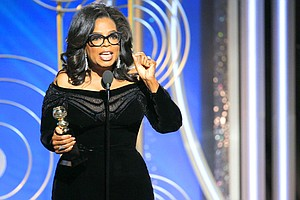 Oprah Winfrey accepting the Cecil B. DeMille Award at the 75th Annual Golden Globe Awards in Beverly Hills, Calif., on Sunday.