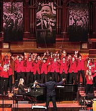 Singers perform during the annual tribute concert to Dr. Martin Luther King, Jr. by the Boston Children's Chorus in 2016.