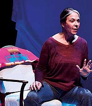 """Melinda Lopez in the ArtsEmerson production of """"Mala,"""" directed by David Dower, at the Huntington Theatre Company, South End/Calderwood Pavilion at the BCA."""