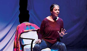 "Melinda Lopez in the ArtsEmerson production of ""Mala,"" directed by David Dower, at the Huntington Theatre Company, South End/Calderwood Pavilion at the BCA."
