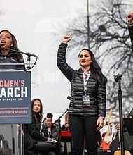 Women's March co-chairs Tamika Mallory, Carmen Perez and Linda Sasour