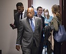 In this Nov. 29, 2017, file photo, Rep. John Lewis, D-Ga., and other members of the House Democratic Caucus leave a meeting on Capitol Hill in Washington. (AP Photo/J. Scott Applewhite, File)