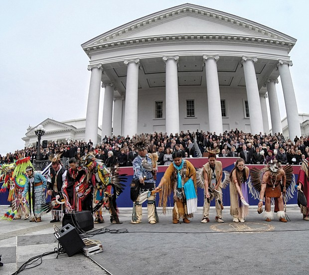 Members of 11 of Virginia's Native American tribes perform a blessing for the new governor during the ceremony outside the South Portico of the Capitol.