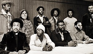 """The Wilmington Ten at a news conference in Raleigh, North Carolina on Jan. 21, 1976. The group was to surrender themselves a week after taking this photo, to begin serving their prison sentences, according to the Rev. Ben Chavis, front row, left. From left, front row, they are Chavis, William """"Joe"""" Wright, Connie Tindall and Jerry Jacobs. In the back row are Wayne Moore, Anne Sheppard, James McKoy, Willie Vereen, Marvin Patrick and Reginald Epps."""