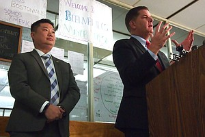 Superintendent Tommy Chang and Mayor Martin Walsh visit the Mario Umana Academy.