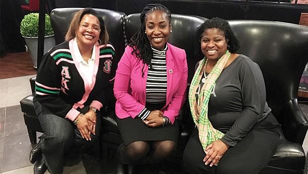 Kimberly E. Zouzoua - Psi Iota Omega, Tracey Cameron, PhD - Rho Epsilon and Chenita Daughtry - Psi Omega Chapter Presidents at their 110th AKA Founders' Day celebration.