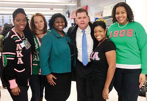 Psi Omega Members Kathy Lucas, Tina Petigny, Chenita Daughtry - President, Mayor Marty Walsh, Shamikhah Baker and McCall Allen at Boston Latin School - Boston Cares event.