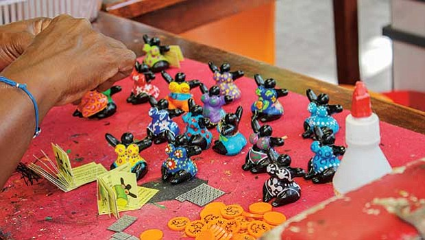 Chichi figures in a workshop in Curacao.