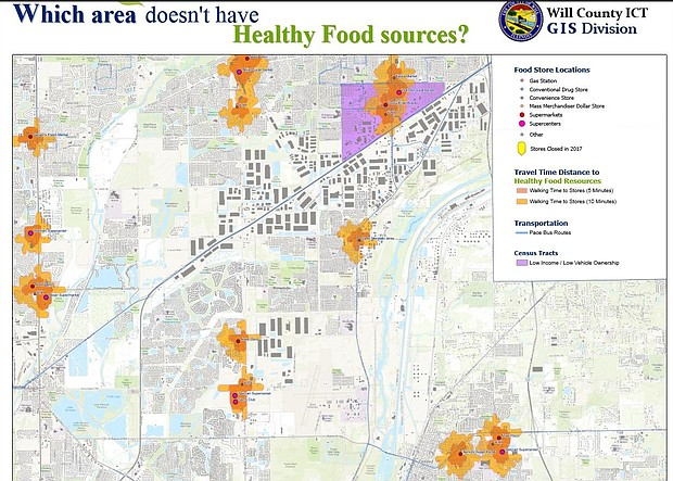 Will County food availability map