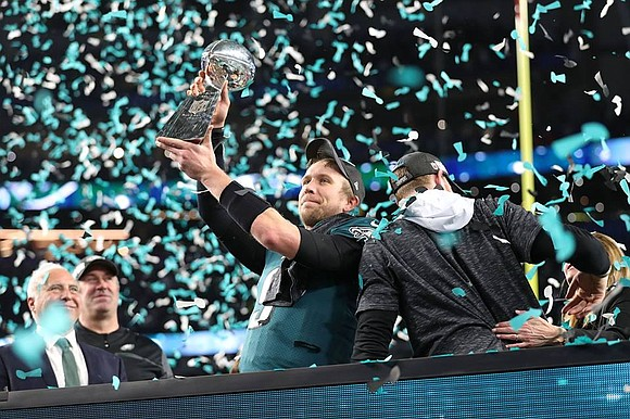 Philadelphia Eagles quarterback NICK FOLES was voted the winner of the Pete Rozelle Trophy, awarded to the Super Bowl LII ...
