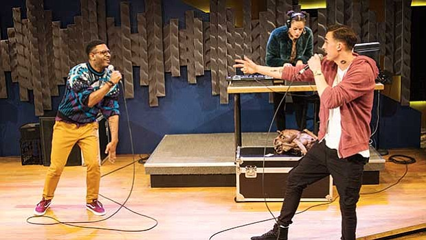 """Kadahj Bennett as Verb, Rachel Cognata as Peep One and Michael Knowlton as Pinnacle, in Company One Theatre's production of """"Hype Man."""""""