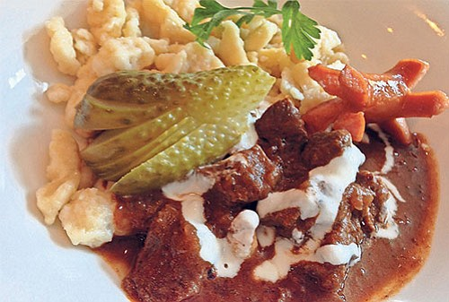 Hungarian Goulash served on the AmaPrima during a Black Sea Voyage AmaWaterways river cruise from Budapest to Bucharest.
