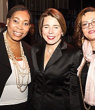Denella J. Clark, Boston Arts Academy Foundation Executive Director, Maura Healey, Attorney General and Gail Jackson-Blount, Gail Jackson Communications, President of The Massachusetts Women's Political Caucus.