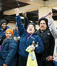 Airport workers and 32BJ SEIU members at last week's press conference.