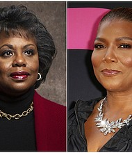 This combination photo shows law professor Anita Hill, left, and actress Queen Latifah. (AP Photo)