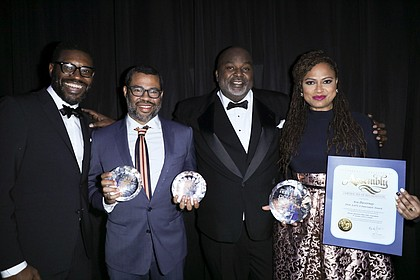 AAFCA Co-Founder Shawn Edwards, Jordan Peele, AAFCA Co-Founder Gil Robertson and Ava DuVernay at the 9th Annual AAFCA Awards./credit Sheri Determan.