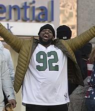 Philadelphia Eagles' Fletcher Cox celebrates during a Super Bowl victory parade, Thursday, Feb. 8, 2018, in Philadelphia. The Eagles beat the New England Patriots 41-33 in Super Bowl 52. (AP Photo/Christopher Szagola)
