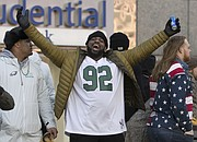 Philadelphia Eagles' Fletcher Cox celebrates during a Super Bowl victory parade, Thursday, Feb. 8, 2018, in Philadelphia. The Eagles beat the New England Patriots 41-33 in Super Bowl 52. (AP Photo/Christopher Szagola)