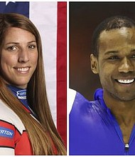 "United States' athletes Erin Hamlin, left, and Shani Davis. A tweet posted to the account of Davis blasted the selection of luge athlete Hamlin as the U.S. flagbearer for the opening ceremony at the Pyeongchang Games. The tweet says the selection was made ""dishonorably,"" and included a reference to Black History Month in a hashtag. Hamlin and Davis each got four votes in the final balloting of the athlete-led process. (AP Photos/File)"