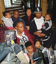 Venus Hayes speaks out for justice in the police shooting death of her 17-year-old son, Quance Hayes, as she gathered with family and friends at City Hall on Thursday to file a notice of bring a wrongful death lawsuit against the city, one year after Hayes was killed.